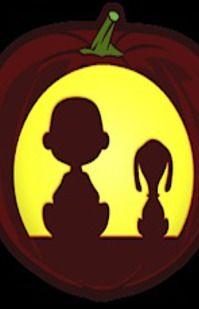 Charlie Brown and Snoopy - Pumpkin Stencil