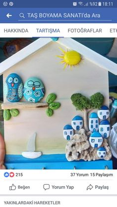 50 Amazing Painted Rocks Houses Ideas You'll Love Pebble Painting, Pebble Art, Stone Painting, Stone Crafts, Rock Crafts, Arts And Crafts, Art For Kids, Crafts For Kids, Chicken Painting