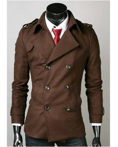 $88.89 #MensWinterCoats Fashion Cotton Blends Double Breasted Lapel Solid Winter Warm Men Coat Discount Online Shopping