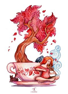 Red Autumn Tree Teacup Cat Raven Redhead by TrolladrielCreations