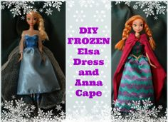 How to make simple Frozen doll clothes--Elsa's sparkly dress and Anna's cape for Barbies