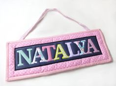Baby name plaque - Upcycled baby clothes - Baby keepsake - Nursery door sign - Baby plaque - Custom sign name plaque - Wall hanging