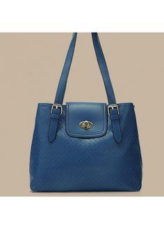 British Style Twist Lock Design Navy Blue Shoulder Bags