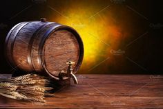 Old oak barrel on a wooden table by Volff on @creativemarket
