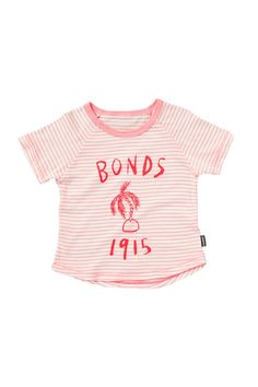 5023a374c5e Bonds logo tee in pink. Also available in blue and yellow for boys. Running