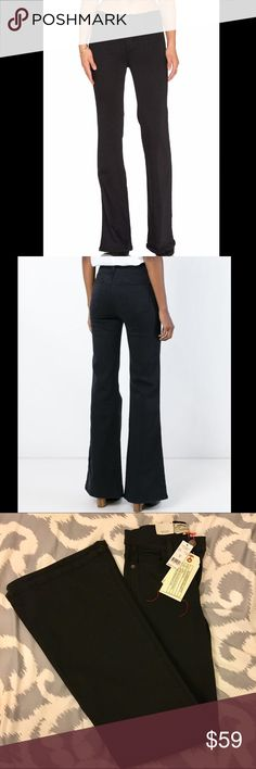 ✨HP✨ Current Elliott Girl Crush Flare Jeans Amazingly comfortable! Current/Elliott jeans in tar black. Five-pocket style. Medium rise. Slim fit. Distressed knees. Flare legs. Straight hem. Button/zip fly; belt loops. Cotton/EME/spandex.  #newyearcleancloset On here to declutter, so 🚫 trades. If I want something in your closet badly enough, I'll buy it 😍 Sale price firm and fair! Current/Elliott Jeans Flare & Wide Leg