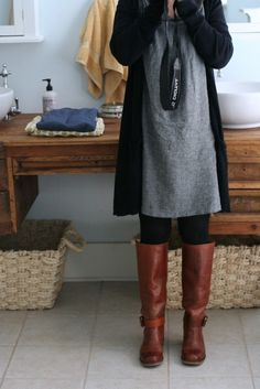 Cute grey dress by lila.....AND SCORE. I just happen to have those boots :)