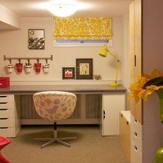 Cheery basement window treatment and very organized work space