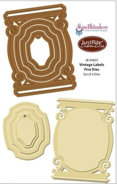 """Vintage Labels Five Dies - $29.95 Vintage Labels Five Dies from JustRite will showcase your focal point beautifully! Features - Works in most leading die cut machines.  Approximate sizes: 4 1/2"""" x 3 1/8"""",   3"""" x 2 1/2"""",  2 3/8"""" x 1 3/4"""", 1 3/4"""" x 1 1/4"""" . Works with  Black-eyed Susan Vintage Labels Five,   Sunflowers Vintage Labels Five."""