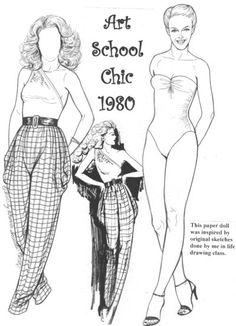 This B&W set is a tribute to my two years studying fashion illustration in art school from 1980 to 1982. These were all real clothes drawn from life at the time, and from what I've seen in the stores, they seem to be back in style.  3 page set, $8. To see more, click here http://www.fancyephemera.com/contemporaryfashion.html#ARTSCHOOLCHIC