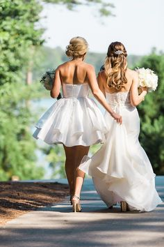 stitches - Vue Photography ...One of my favorite Maid of Honor and Sister shots ever! And for that fact, a dresses to die for! Short bridesmaid dresses are to fun as well as the Jude Wadell wedding dress!