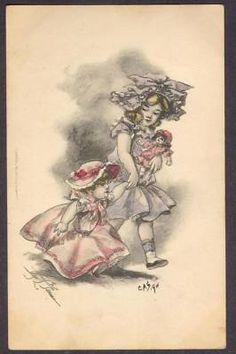 May Farini-Girls-Hats-Dolls-Early 1900's Postcard