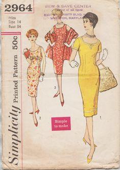 Simplicity 2964 / Vintage 50s Sewing Pattern / Sheath Dress