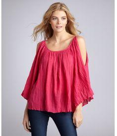 gauze blouses peasant purple | ... Cotton Gauze Cutout Shoulder Peasant Blouse in Purple (fuchsia