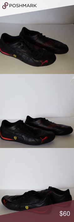 Puma Ferrari Driving Shoes Leather Black Red Puma Ferrari Driving Shoes Leather Black Red, Puma logo at toe, tongue and heel. Ferrari logo on side. Lightweight, rubber sole to facilitate optimal driving experience.   Worn two or three times.  Excellent condition Puma Shoes