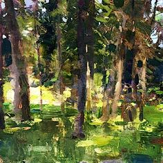 Jon Redmond, Woods C., Oil on Mylar, 10 x 10 inches - Somerville Manning Gallery Watercolor Landscape, Landscape Art, Landscape Paintings, Landscapes, Nature Artwork, Country Landscaping, Seascape Paintings, Contemporary Landscape, Pictures To Paint