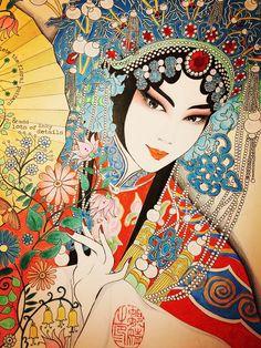 Drunken Beauty - A Peking Opera Classic on Behance Chinese Posters, Chinese Artwork, Chinese Painting, Fantasy Paintings, Fantasy Art, Geisha Art, China Art, Indian Art, Watercolor Illustration