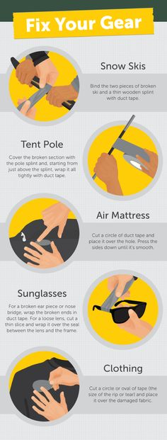 Sticky Stuff, 15 Ways Duct Tape Can Save the Day Survival Blog, Survival Life Hacks, Camping Survival, Survival Gear, Survival Skills, Colored Tape, Doomsday Prepping, Tent Poles, Save The Day