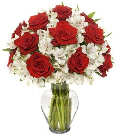 22 Long Stem Classic Rose Alstro Bouquet - With Vase - http://yourflowers.us/?p=731