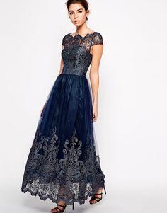 Chi Chi London Premium Metallic Lace Maxi Dress