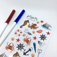 Seaside Stickerset   Aquarell Watercolor Sticker, Pretty Planning, Filofax, Bullet Journal, Journaling