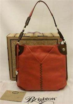 Brighton Shayla Shoulder Bag V Pocket In Henna Rust Orange Leather H41967 NWT