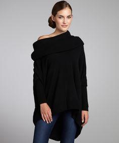black cashmere oversized cowl neck sweater