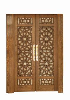 Middle Eastern wood carvings and works. Wooden Main Door Design, Front Door Design, Rustic Doors, Wooden Doors, Arabesque, Moroccan Doors, Pooja Room Door Design, Double Front Doors, Modelos 3d