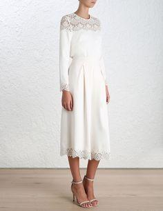 Zimmermann Crepe Lace Top Blouse Porcelain/Ivory Size 0 AU 6-8 US 2-4 BNWT | eBay