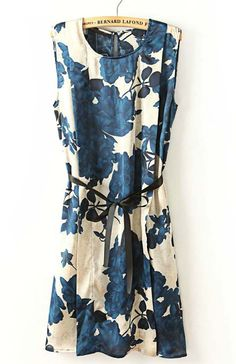Blue Sleeveless Back Split Floral Belt Dress US$238.52