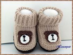 Babyschuhe gestrickt Teddy von Hexenpott auf DaWanda.com
