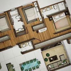 Parquet markers : br170 , br79 ,br116 . . #sketch #rendering #art #architecture #architecturestudent #plan_rendering #marker
