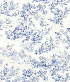 Shop Covington M Musee Toile Blue Fabric at onlinefabricstore.net for $14.4/ Yard. Best Price & Service.