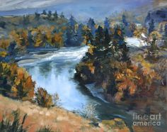 River Painting - Hwy 10 Gorge River View by Lori Pittenger