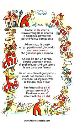 Filastrocca del che e del chi Italian Alphabet, Italian Vocabulary, Learning Italian, Reading Material, Language, Teaching, Education, School, Alphabet