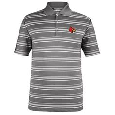 Mens Louisville Cardinals adidas Gray Puremotion Textured Striped Polo