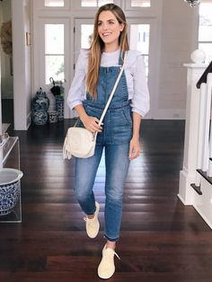 f738b3aead 4.17 daily look (Express striped ruffle yoke blouse + Madewell skinny  overalls in drop-