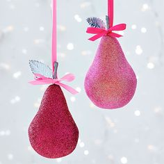 Sparkling Pink Pear Ornament Clinton Kelly