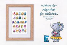 Watercolor Alphabet for Children  by ESchweitzerDesign on @creativemarket