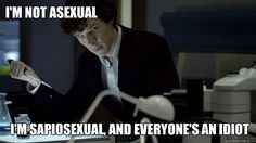 """I'm not asexual. I'm sapiosexual, and everyone's an idiot."" And the perfect picture of Sherlock..."
