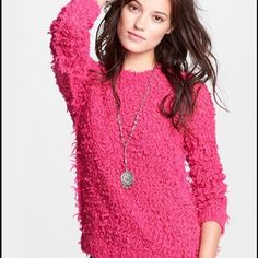 NWT Free People LAST CALL! September Song sweater! Beautiful shaggy sweater in hot pink! Brighten up your winter months! Free People Sweaters Crew & Scoop Necks