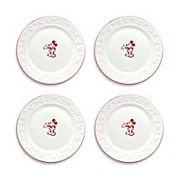 Gourmet Mickey Mouse Dessert Plate Set - White/Red
