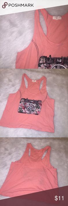 •I Love H81 Crop Top• Cute crop top in coral color with speakerbox graphic. Worn a couple times, still in good condition! I Love H81 Tops Crop Tops