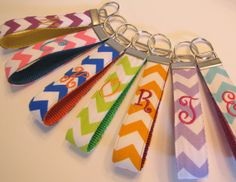 Chevron Monogram ONE Letter Fabric Wristlet Key Fob Select from 12 Colors on Etsy, $7.95
