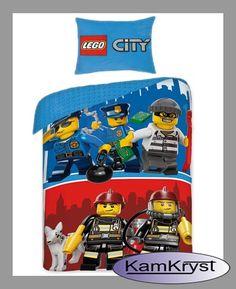 Pościel Lego City - dziecięca pościel bawełniana z postaciami z klocków Lego  - 100% bawełna - Rozmiar pościeli 140x200 cm #Lego #pościelLego