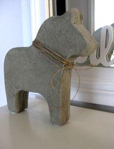 gjuta betong inspiration hantverk dekorationer häst pyssel