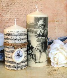 MadeByDara / Vintage vianočné sviečky sada 2 ks
