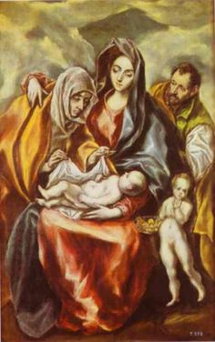 The Holy Family with St. Anne and the Young St. John the Baptist, Oil by El Greco (Doménikos Theotokopoulos) (1541-1614, Greece) #HolyFamily #religiouspicture #greco