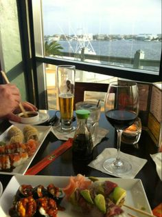 Enjoying fresh sushi and a water view at Marina Cafe