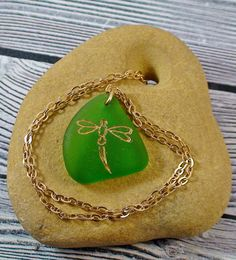 Dragonfly Sea Glass Necklace  Seaglass Jewelry by MoreThanSeaGlass